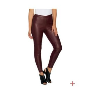 H by Halston Faux Stretch Leather Pants